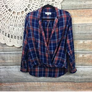 Madewell Wrap Front Oversized Plaid Top